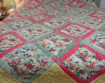 Hand Quilted 82x100 Birds and Flowers by Karrirose