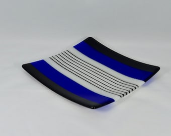 Blue Striped Fused Glass Plate