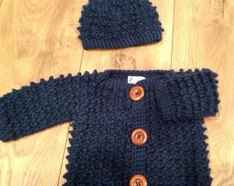 Baby Sweater Set - Midnight Blue