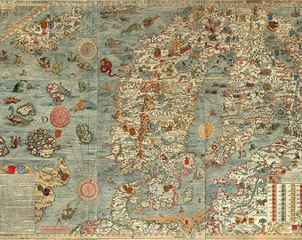 Sea map of a Scandinavia by Olaus Magnus in 1527-39. Carta marina. Sweden, Denmark, Norway, Iceland and Finland.  Antique Reprint.
