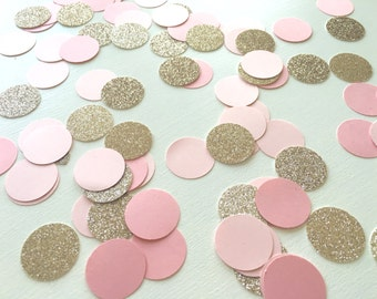 "1,000 Pieces of 1"" Champagne Glitter & Ombre Pink Circle Confetti"