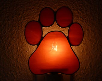 Paw Print Night Light, Orange Stained Glass, Wall Plug in, Dog Puppy Pet Kitchen Bedroom Bathroom Nursery Home Decor, Handmade U L Certified