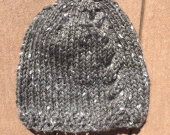 Gray Cabled Hat