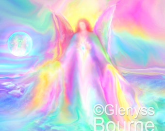Guardian Angel LEI-ANDRA, Angel Art Spirit Painting, Signed Giclee Print by Glenyss Bourne