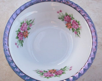 Yamatsu Bowl with Purple Lustre and Roses  Japan  ~  Ultra Violet
