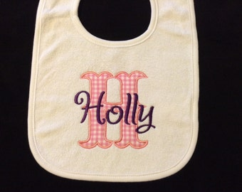 Personalized baby bib, embroidered bib with name and initial, girl bib, monogrammed bib, Personalized baby shower gift girl