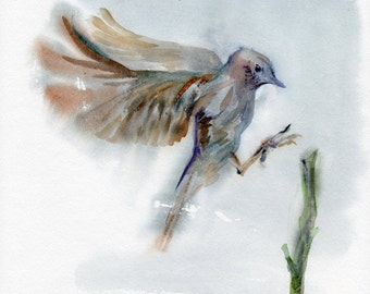 Flying bird, original watercolor painting, bird painting, bird lover gift