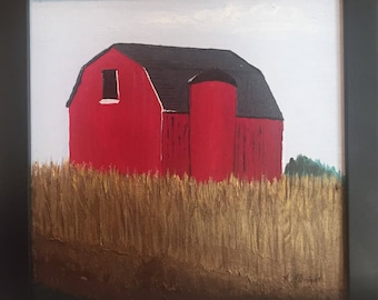 Red Barn Original Acrylic Painting, Harvest Art, Farmhouse Art, Farm Painting Corn Field Painting, Cornfield Painting, Autumn art, Fall Art,