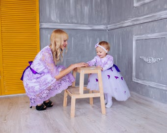 Matching mother daughter dresses, Mommy and me purple dresses matching outfits Lace lavander wedding dress Tutu dress butterflies