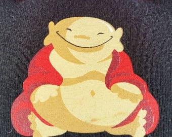 Ein glücklich Leben-Upcycling Safe-Sex Kissen, w / Kondom & Lube Taschen, OOAK, schwarz, Buddha, Bauch, Freude, Philosophie zu leben