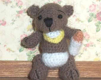 Baby Bear Miniature Thread Artist Crochet  Ready to Ship