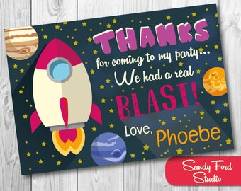 Girls Space Thank You Card, Space Birthday Thanks, Rocket Ship Birthday, Outer Space Birthday, Astronaut Party Printables DIGITAL FILE