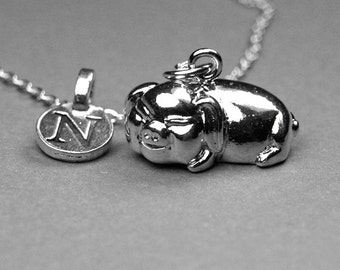 Pig necklace, pig charm, Pot belly pig necklace, potbelly pig charm, potbellied pig, shiny silver plated, personalized, initial necklace