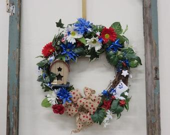 Patriotic Birdhouse Grapevine Wreath