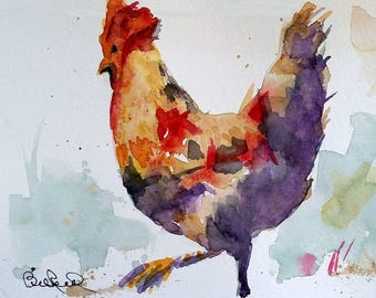 """Abstract Rooster - 8"""" x 10"""" print of my original watercolor painting"""