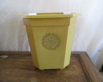 Trash Can Wastebasket Mustard Yellow 1970's Flower