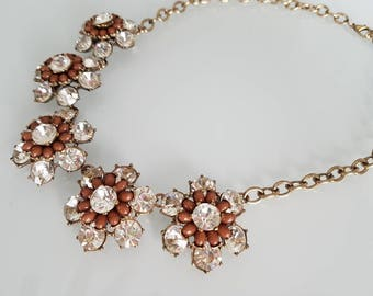 Statement Necklace Chunky Necklace Crystal Vintage Bib Necklace 1930s Necklace 1920S  Gatsby Necklace Flower Necklace