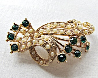 Antique Art Deco Seed Pearl Brooch- Emerald Green Rhinestones- Wedding Brooch Pin- Something Old Bride- 1930s Great Gatsby Flapper Jewelry