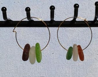 Earrings; Multi-color Sea Glass Hoop Earrings;