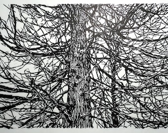 "Branches, hand carved woodblock print, 14""x20"""