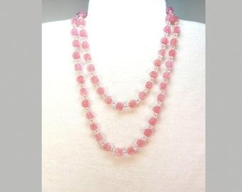 "Vintage pink satin bead long necklace 42"" L  CE"