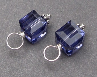 Swarovski Crystal Cube Charms, Interchangeable Earrings,  Tanzanite Birthstone Charms, December Birthstone, Earring Findings