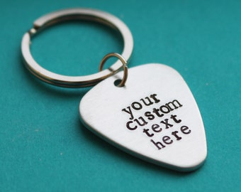Guitar pick personalized hand stamped keychain, guitar pick keychain, hand stamped guitar pick, wedding party gift groomsman valentine's day