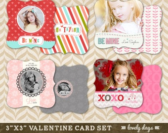 Valentine Card Template Set of four Boutique Shape 3x3 for Photographers INSTANT DOWNLOAD