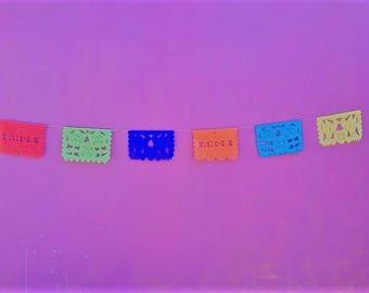 amor papel picado mexican banner rectangle bunting mexican party decor amor MEDIUM