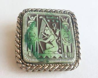 Faience Tile Egyptian Revival Brooch