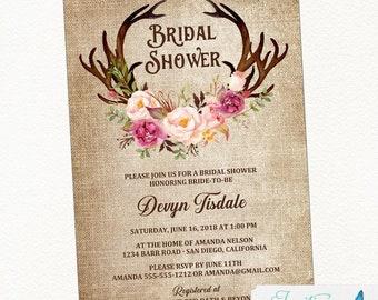 Blush Pink Antler Bridal Shower Invitation, Rustic Bridal Shower, Country Bridal Shower, Boho Bridal Shower, floral bridal shower invite