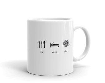 Movie Director Coffee Mug, Eat Sleep Film Funny Movie Making