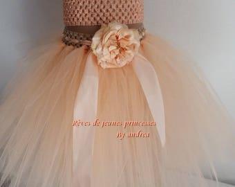 Tutu skirt puffy soft tulle, peach, dance