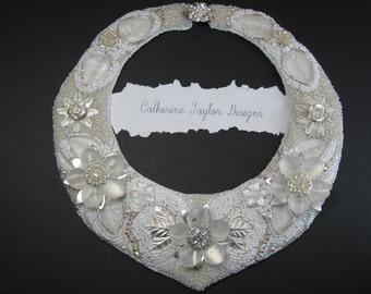 "Bead Embroidery Bib Necklace ""The White Enchantress "" EBEG Team Bead Fest 2 Filigree"