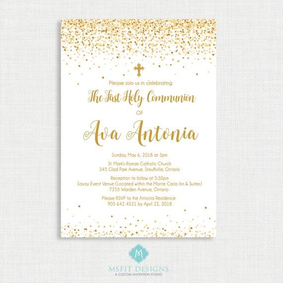 Printable Baptism Invitation-  Baptism Invitation - Baby Dedication, First Communion, Confirmation, Christening - Printable invitation
