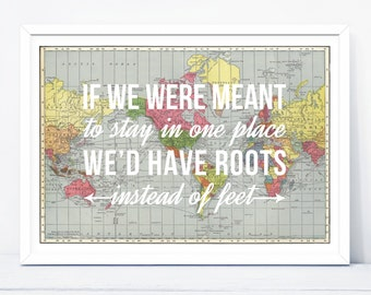 Travel Quote Print, Wanderlust, World Map, Travel, Poster, Map, World Map Poster, Wall Decor, Map Art, Quotes, Map of the World, Map Print