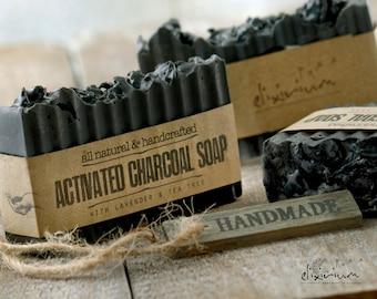 ACTIVATED CHARCOAL SOAP • Detox Soap, Organic Soap, Lavender soap, Tea Tree Soap, Acne Soap, Rustic Soap, Organic skin care, Natural soap
