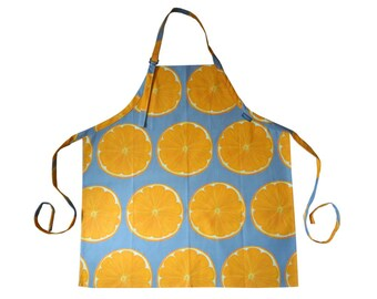 Grey Orange Slice Cotton Adult/Child Apron Hand Drawn Design