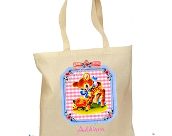 Personalized Tote Bag - Custom Tote Bag - Baby Deer Tote - Canvas Cotton Tote Baby Deer Bag 2 Sizes