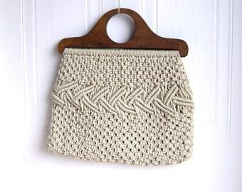 Macrame Boho Tote, Wooden Handles, Boho, 70s, Hippie Chic, Purse, handbag