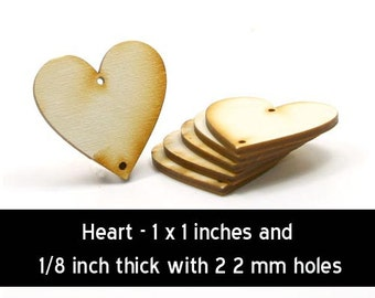 Unfinished Wood Heart - 1 inch by  1 inch and 1/8 inch thick with 2 2mm holes wooden shapes (HART33)