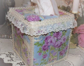 Teapots and Purple Violet Roses TISSUE COVER for your Lt Blue Shabby Chic Bathroom Kitchen Decor Mothers Day Gift
