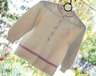 Gift for granddaughter knit cardigan sweater for little girl clothes cream sweater kindergarten outfit girl preschool outfit size 4 5 years