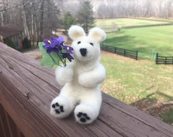 Violet the Bear-Needle felted sculpture