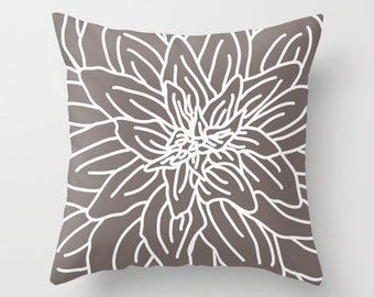 Modern Abstract Spring Flower Pillow Cover - Taupe Brown - Neutral Home Decor - includes insert