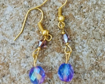 Goldtone earrings with Blue Swarovski Crystal Beads