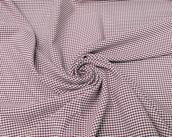 Keira BURGUNDY Mini Checkered Poly Poplin Fabric by the Yard - 10048