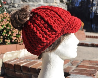 Red Ponytail Hat with Brim - Messy Bun Hat - Crochet Hat - Red Hat