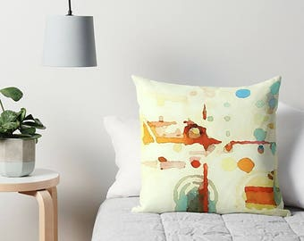 Throw Pillow, Yellow, Orange, Blue, Abstract Pillow, 16x16, 18x18, 20x20, 24x24, Couch Pillow, Watercolor Cushion, Abstract Cushion