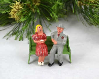 Vintage Barclay Figures On A Bench, Cast Metal Man And Woman On A Bench